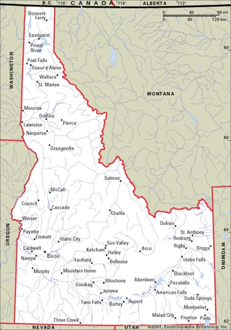idaho towns map idaho state map with cities images