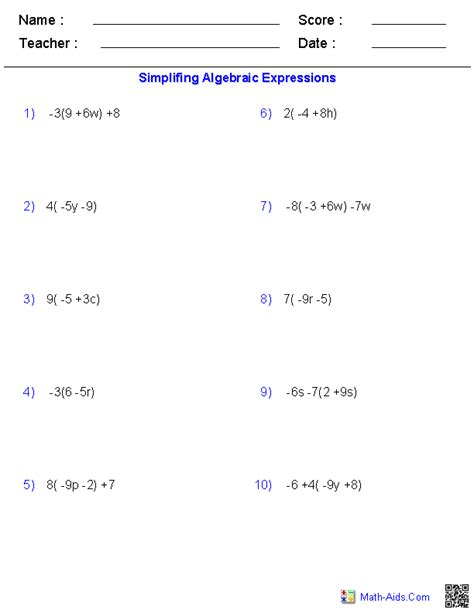 free printable math worksheets distributive property pre algebra worksheets algebraic expressions worksheets