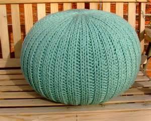 knitted pouf ottoman light teal
