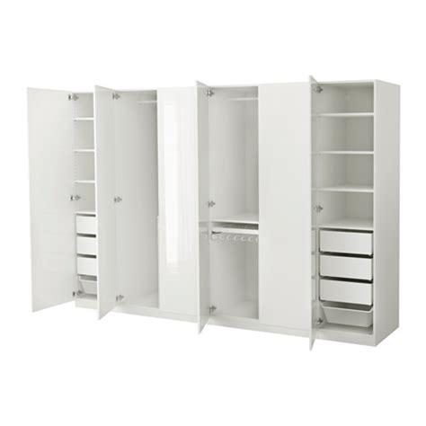 High Gloss White Wardrobes by Pax Wardrobe White Fardal High Gloss White 300x60x201 Cm