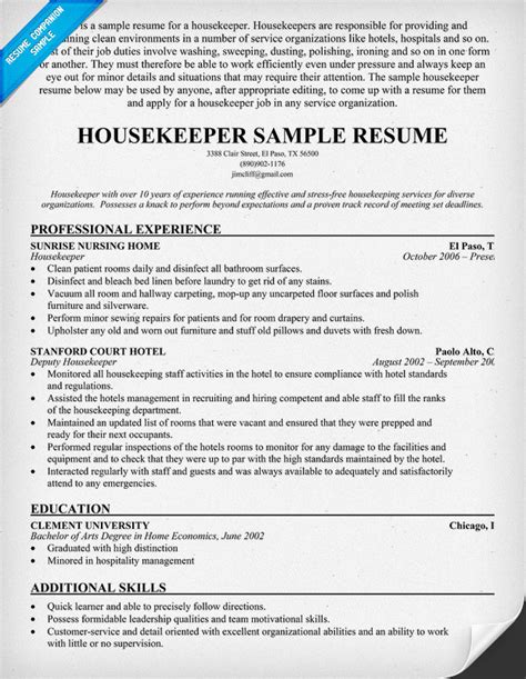 Resume Sles Housekeeping Housekeeper Resume Exle Images
