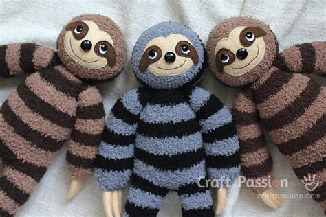 make sock animals patterns sock sloth plushie free sewing pattern craft