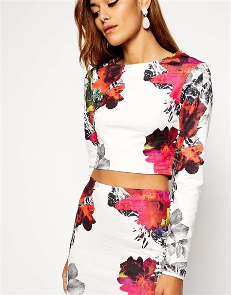 Gisel Blouse St T1310 asos co ord crop top in texture with floral print lyst