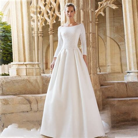 boat neck long sleeve wedding dress simple and elegant wedding dresses boat neck three quarter