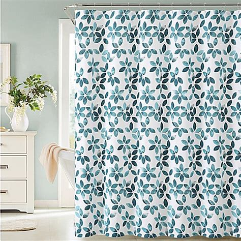 teal and white shower curtain veria shower curtain in teal white bed bath beyond