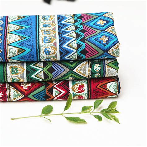 3pcs lot soft linen cotton fabric ethnic floral printed