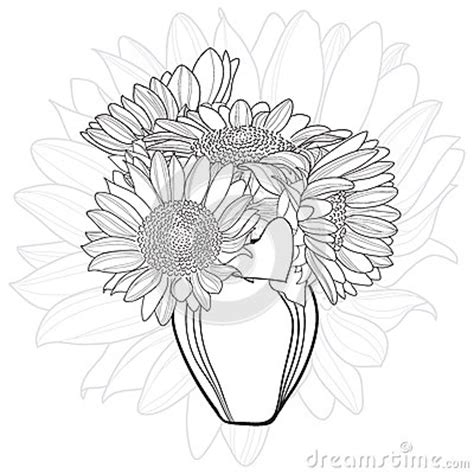 How To Draw Sunflowers In A Vase by Vase With Sunflower Bouquet Stock Illustration Image