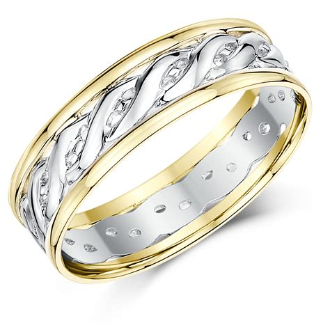 6mm 9ct yellow white gold two colour celtic wedding ring