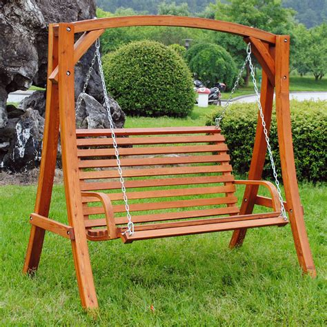 swing chair wooden wooden garden swing curved seat buydirect4u