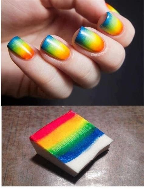easy nail art with sponge 19 amazing rainbow nail art designs pretty designs