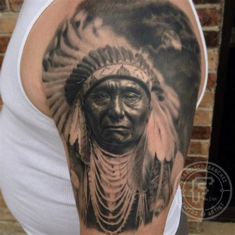 native american portrait tattoo by francisco sanchez tattoos