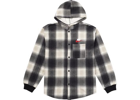 Hooded Plaid Sweatshirt supreme nike plaid hooded sweatshirt black fall winter 2018