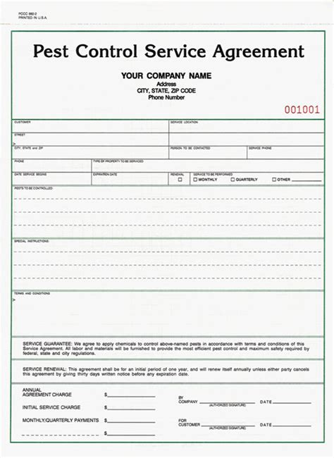 Pest Contract Template pest receipt templetes studio design gallery