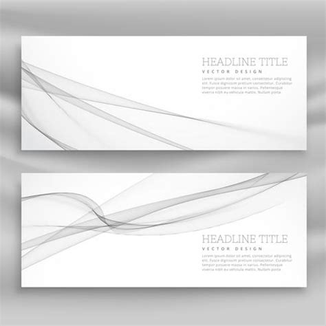 Clean Gray Wave Banner Template Download Free Vector Art Clean Wavy Free Template For