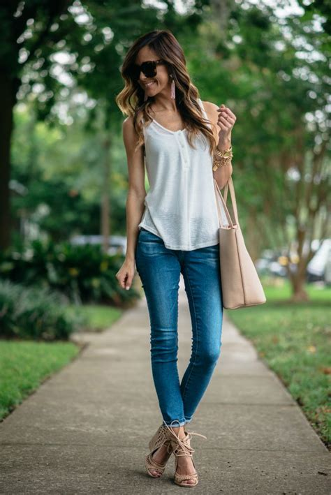 everyday casual white tank wedges sequins things