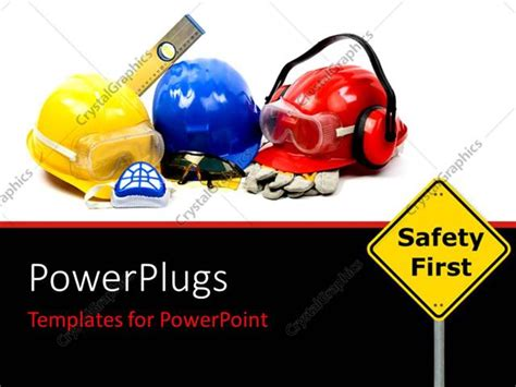 Powerpoint Template Safety Gear Kit Close Up With Safety First Sign Board In Foreground 25556 Free Safety Powerpoint Templates