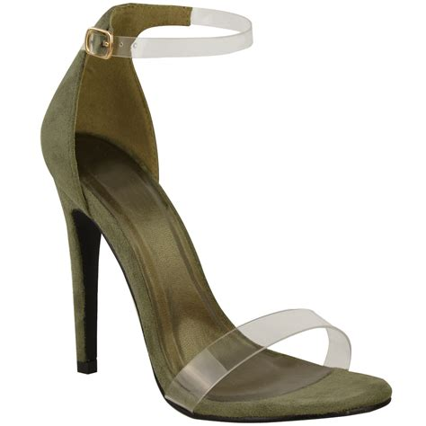 high heel strappy sandals womens high heel barely there clear perspex sandals
