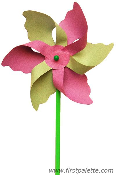 How To Make Pinwheel Flowers From Paper - paper flower pinwheel craftbnb