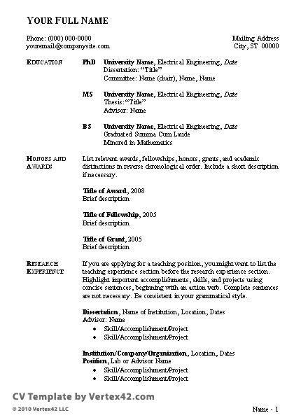 sample of curriculum vitae format resume cover letter