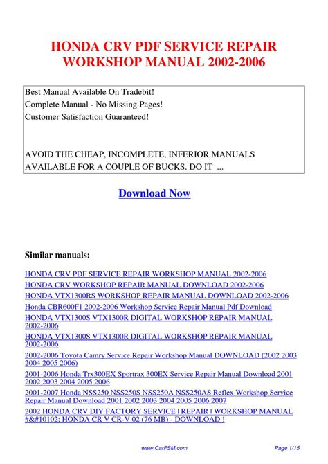 honda crv 2001 2006 workshop service repair manual on cd the best ebay honda crv service repair workshop manual 2002 2006 by hui zhang issuu