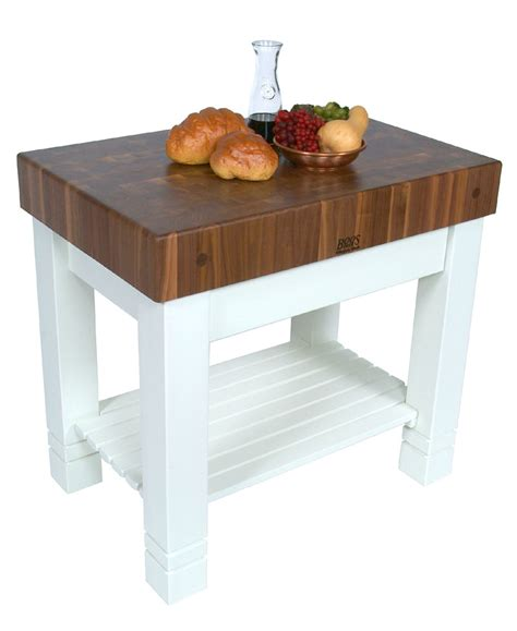 john boos homestead butcher block kitchen island walnut top w white base on sale free shipping us48