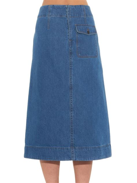 lemaire stonewash denim a line skirt in blue lyst