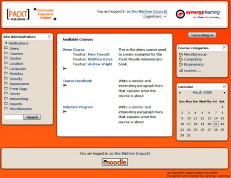 moodle theme location front page customization in moodle packt hub