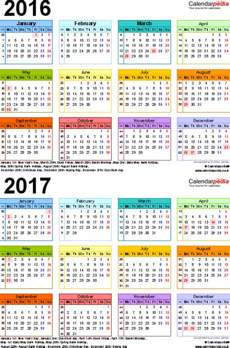 E Calendar 2017 Two Year Calendars For 2016 2017 Uk For Pdf