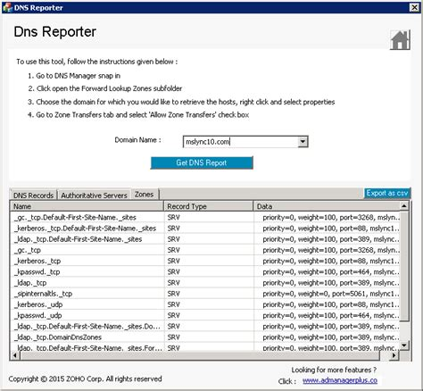 manageengine csv format the manageengine adsolutions dns reporter free tool