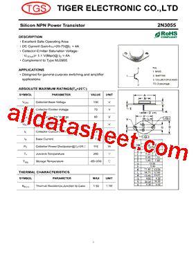datasheet transistor 2n3055 malaysia 2n3055 데이터시트 pdf tiger electronic co ltd