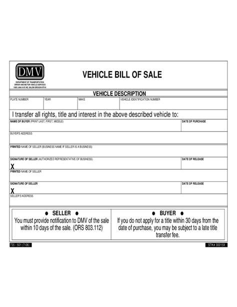 vehicle bill of sale form sle free