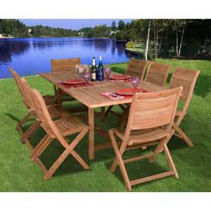 8 Person Patio Table Amazonia Teak Dublin 8 Person Teak Patio Dining Set With Extension Table And Folding Chairs