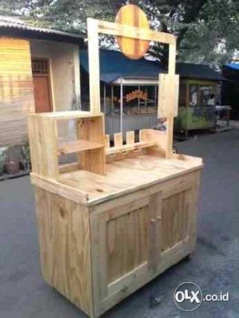 Etalase Kayu Bekas jual rombong kayu unik wood corner