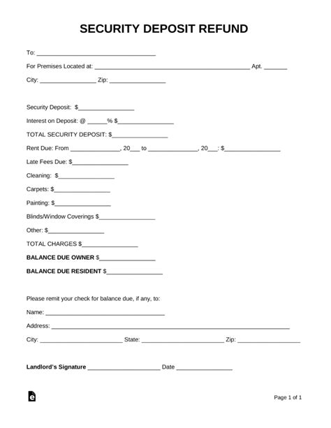 rental deposit form free security deposit return letter template word pdf