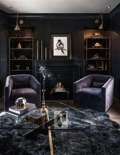 dark bedroom black walls chandelier fireplace purple 26 gorgeous living rooms with black walls digsdigs