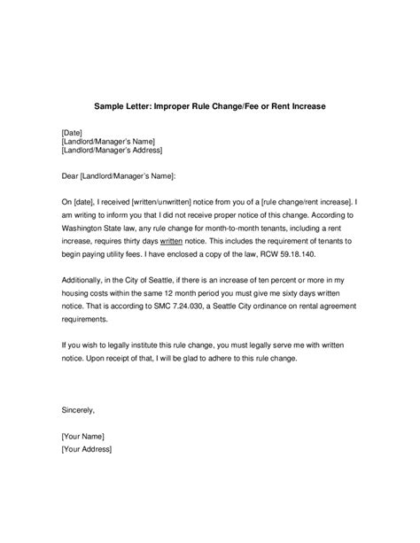 Lease Disagreement Letter notice of rent increase letter template letter template 2017