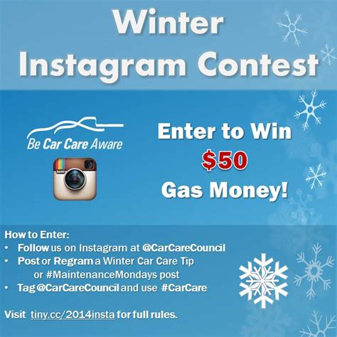 Win Money Competitions 2014 - instagram contest win 50 gas money be car care aware