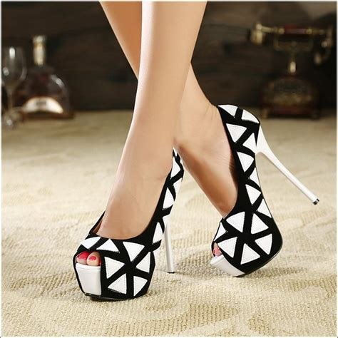 black and white patterned heels stylish shoes with geometric patterns