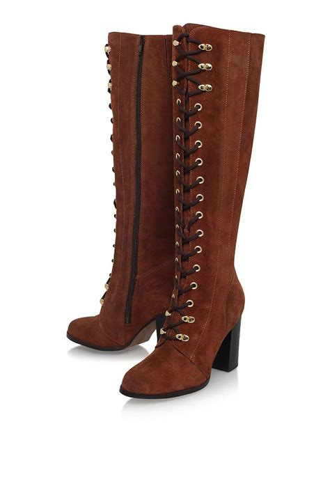 high heel lace up lyst topshop wander rust high heel lace up knee boot by