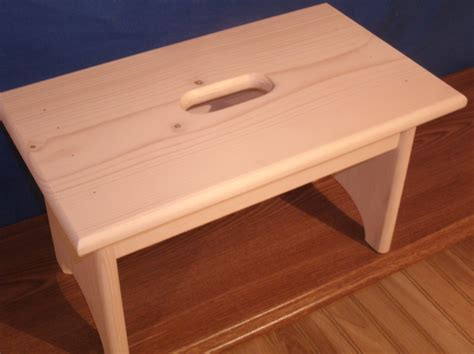wooden step stool with unfinished unfinished pine