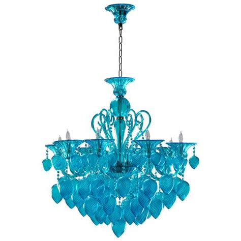 Blue Chandelier Vetro Light Blue Aqua Murano Glass 8 Light Ornament