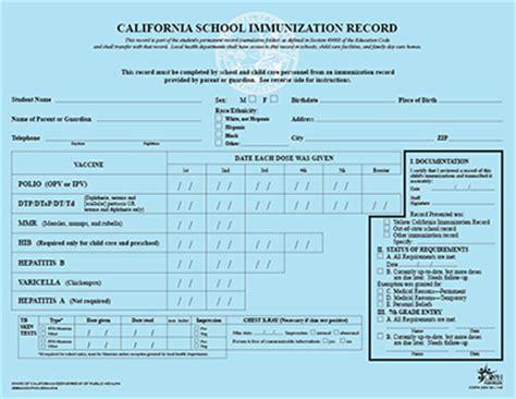 California Immunization Card Printable
