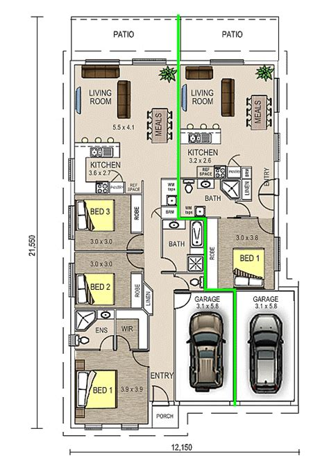 dual occupancy floor plans grace 1 dual occupancy double garage floor plan dual