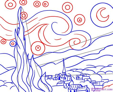 How To Draw Starry Night Step By Step Art Pop Culture | how to draw starry night step by step art pop culture