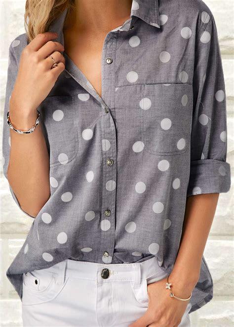 Shirt Collar Polka Ij grey turndown collar polka dot print shirt modlily usd 29 72