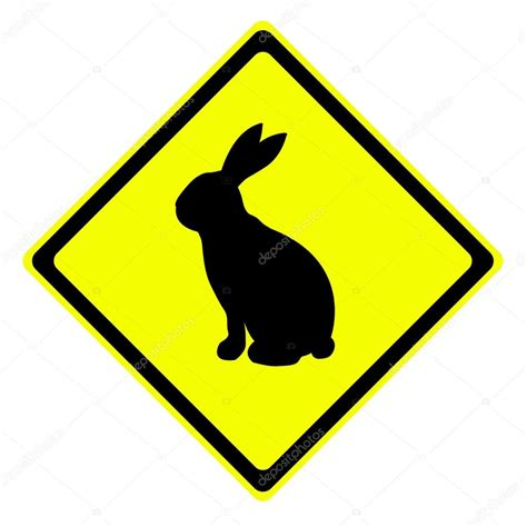 rabbit in warning traffic sign stock photo 169 supakitmod
