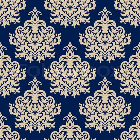 repeat pattern motifs damask style seamless pattern on navy blue with a beige