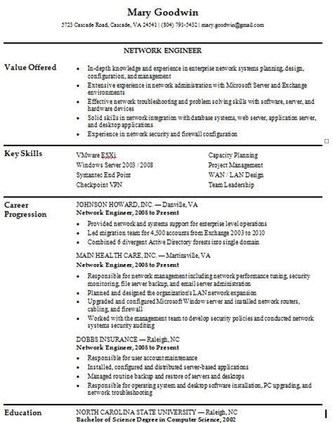 Resume Format For Network Engineer by Free Network Engineer Resume Sles Writing Resume Sle Writing Resume Sle