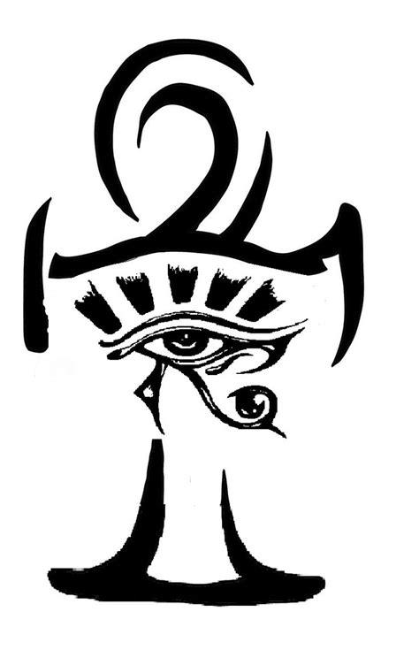 eye of horus tribal tattoo outline ankh and horus eye design