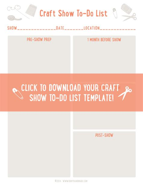 Craft Show To Do List Template Don T Start From Scratch Oh My Handmade Show Templates